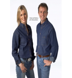 Yarn Dyed Denim Unisex Shirt Long Sleeves