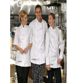 Econo Chef Coat Knot Button Short Sleeve