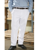 Men's Food Industry Work Pants 100% Cotton with Button Closure