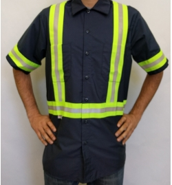 High Visibility Work Shirt With Snaps SS - Front